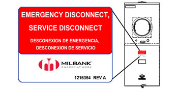 Milbank's emergency disconnect label that complies with NEC 2020 section 230.85 and a drawing of a meter main to see where that label is located.