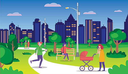 Illustration of people in a park using different smart devices with a city skyline in the background.